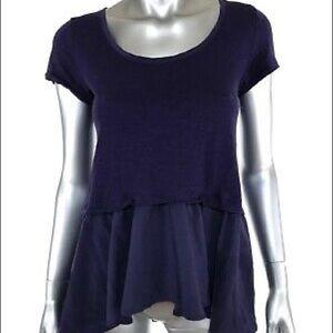 Anthropologie Postmark Purple Short Sleeve Top